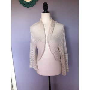 Free people open knit crochet white cardigan shrug